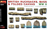 WWII British rucksacks, bags & folded canvas