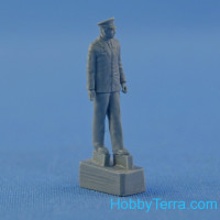 Yuri Gagarin, First Man in Space, resin figure with wooden base