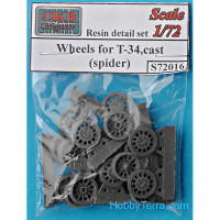 Wheels set 1/72 for T-34, cast (spider)